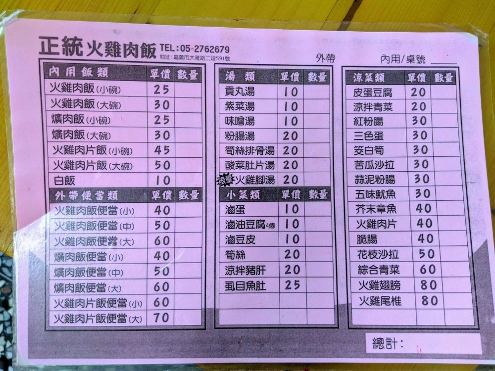 正統火雞肉飯菜單